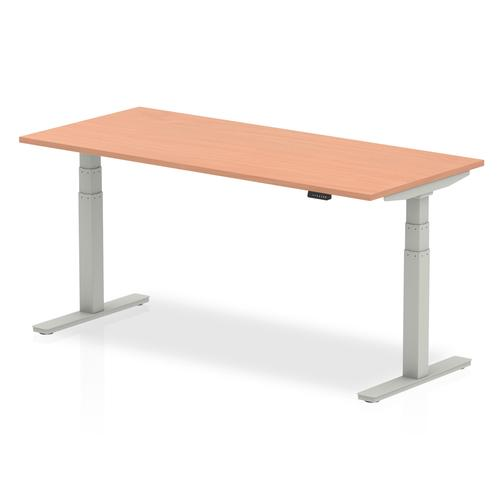 Air 1800 x 800mm Height Adjustable Desk Beech Top Silver Leg
