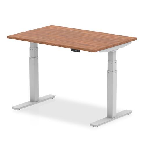 Air 1200 x 800mm Height Adjustable Desk Walnut Top Silver Leg