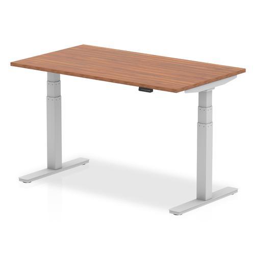 Air 1400 x 800mm Height Adjustable Desk Walnut Top Silver Leg