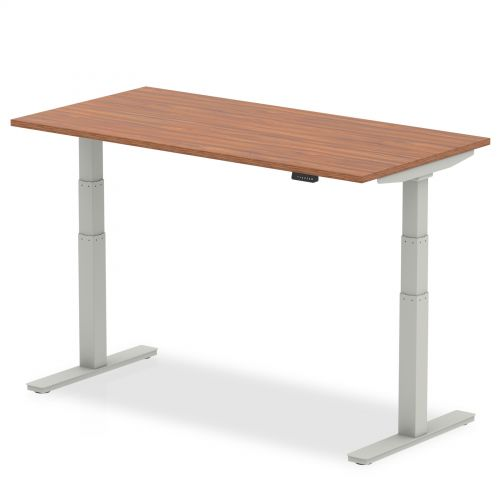 Air 1600/800 Walnut Height Adjustable Desk With Silver Legs