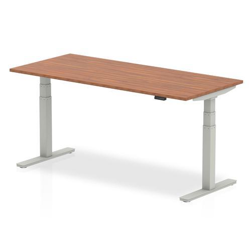 Air 1800 x 800mm Height Adjustable Desk Walnut Top Silver Leg