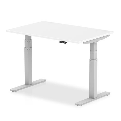 Air 1200 x 800mm Height Adjustable Desk White Top Silver Leg
