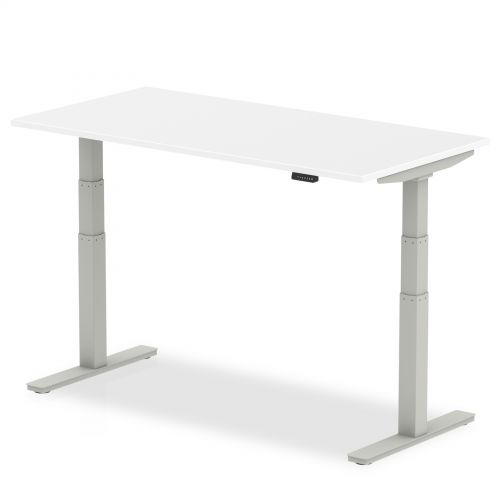 Air 1400/800 White Height Adjustable Desk With Silver Legs