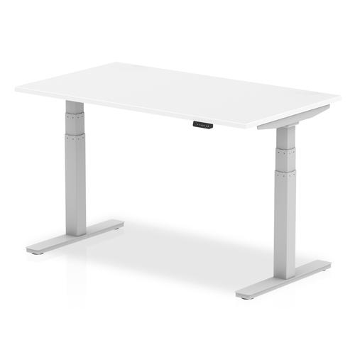 Air 1400 x 800mm Height Adjustable Desk White Top Silver Leg