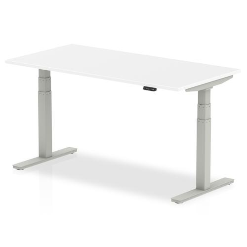 Air 1600 x 800mm Height Adjustable Desk White Top Silver Leg