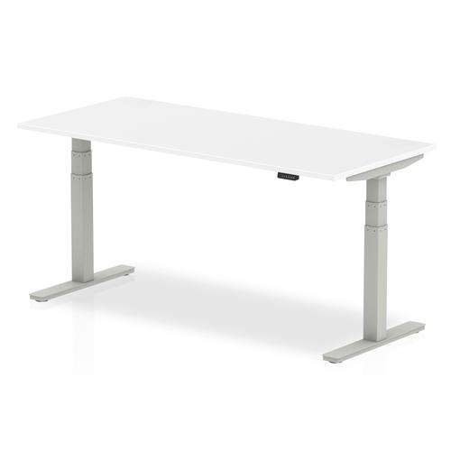 Air 1800 x 800mm Height Adjustable Desk White Top Silver Leg