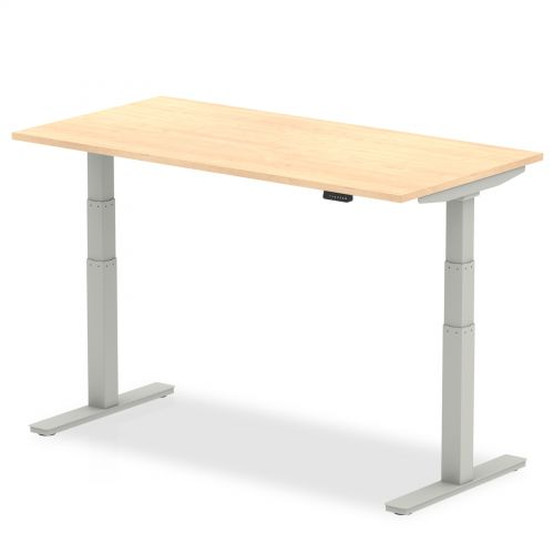 Air 1400/800 Maple Height Adjustable Desk With Silver Legs