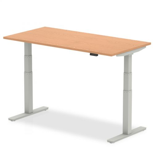 Air 1400/800 Oak Height Adjustable Desk With Silver Legs