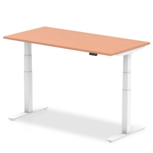 Air 1400/800 Beech Height Adjustable Desk With White Legs