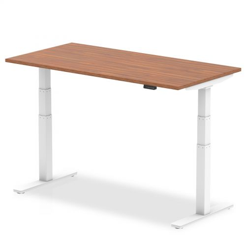 Air 1600/800 Walnut Height Adjustable Desk With White Legs