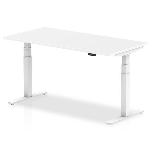 Air 1600 x 800mm Height Adjustable Desk White Top White Leg