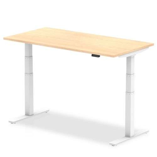 Air 1600/800 Maple Height Adjustable Desk With White Legs