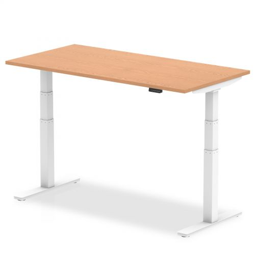 Air 1800/800 Oak Height Adjustable Desk With White Legs