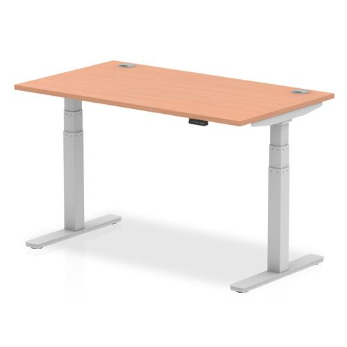Air 1400/800 Beech Height Adjustable Desk With Cable Ports With Silver Legs