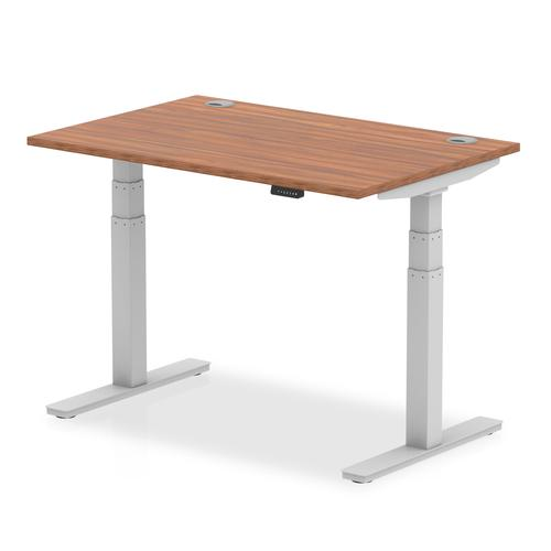 Air 1200/800 Walnut Height Adjustable Desk With Cable Ports With Silver Legs