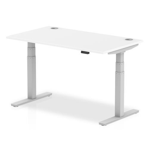 Air 1400/800 White Height Adjustable Desk With Cable Ports With Silver Legs