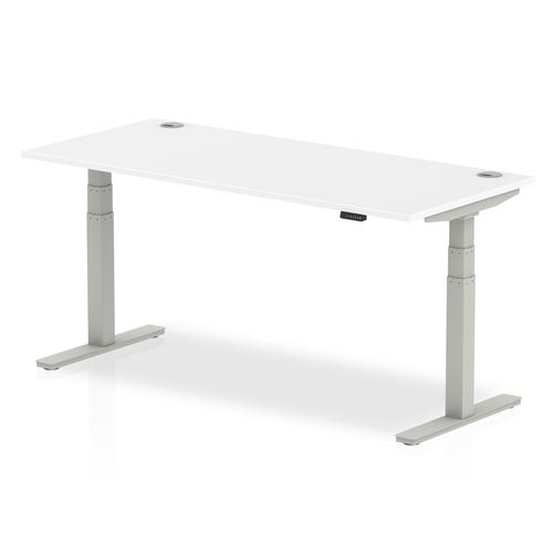 Air 1800/800 White Height Adjustable Desk With Cable Ports With Silver Legs