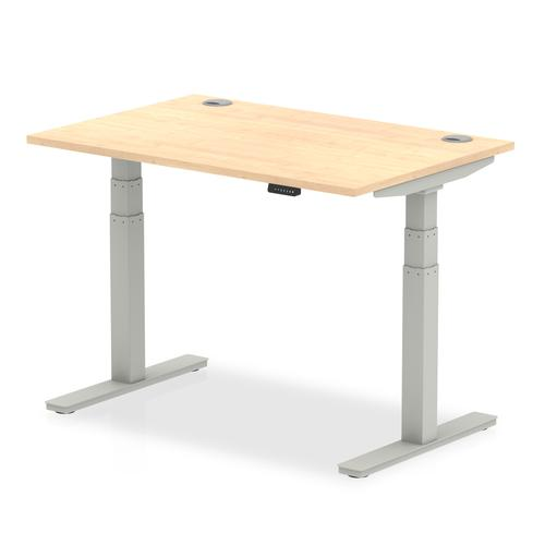 Air 1200 x 800mm Height Adjustable Desk Maple Top Cable Ports Silver Leg