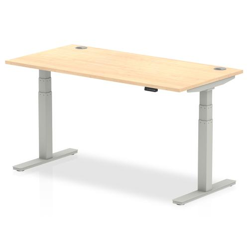 Air 1600/800 Maple Height Adjustable Desk With Cable Ports With Silver Legs