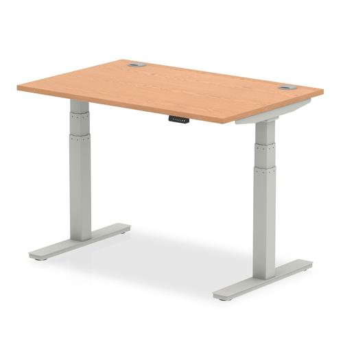 Air 1200 x 800mm Height Adjustable Desk Oak Top Cable Ports Silver Leg