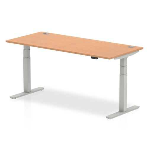 Air 1800/800 Oak Height Adjustable Desk With Cable Ports With Silver Legs
