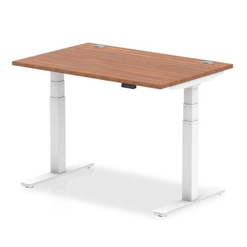 Air 1200/800 Walnut Height Adjustable Desk With Cable Ports With White Legs