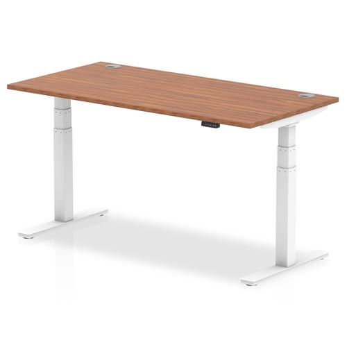 Air 1600/800 Walnut Height Adjustable Desk With Cable Ports With White Legs