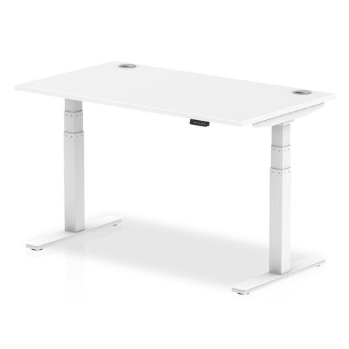 Air 1400 x 800mm Height Adjustable Desk White Top Cable Ports White Leg