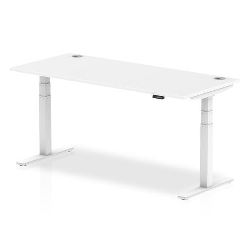 Air 1800/800 White Height Adjustable Desk With Cable Ports With White Legs