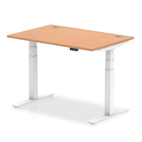Air 1200/800 Oak Height Adjustable Desk With Cable Ports With White Legs