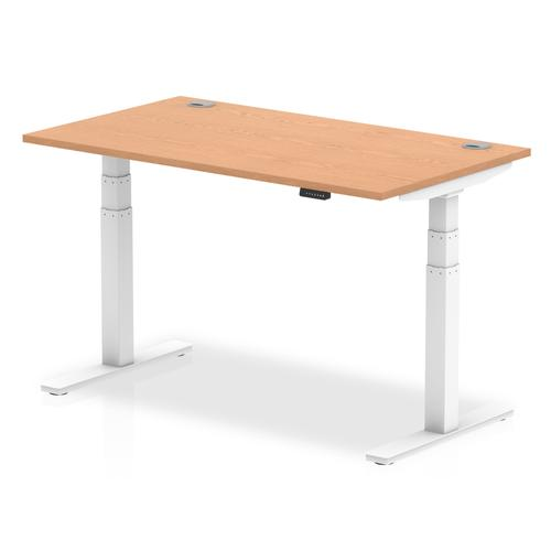 Air 1400 x 800mm Height Adjustable Desk Oak Top Cable Ports White Leg