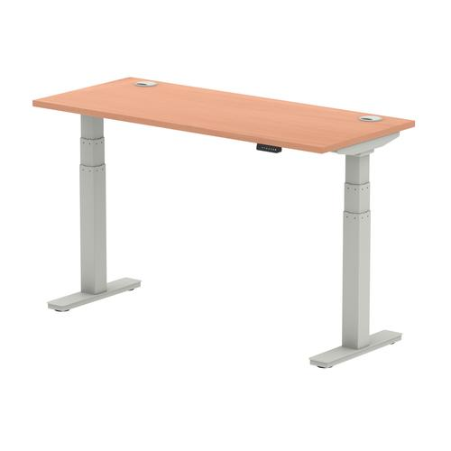 Air 1400/600 Beech Height Adjustable Desk With Cable Ports With Silver Legs