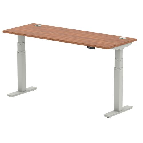 Air 1600/600 Walnut Height Adjustable Desk With Cable Ports With Silver Legs
