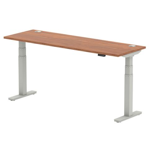 Air 1800 x 600mm Height Adjustable Desk Walnut Top Cable Ports Silver Leg