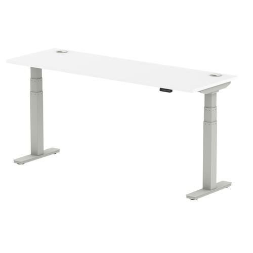 Air 1800/600 White Height Adjustable Desk With Cable Ports With Silver Legs