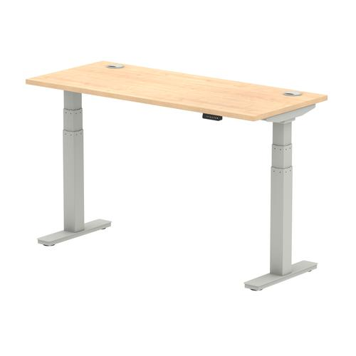 Air 1400/600 Maple Height Adjustable Desk With Cable Ports With Silver Legs