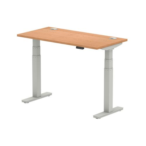 Air 1200/600 Oak Height Adjustable Desk With Cable Ports With Silver Legs