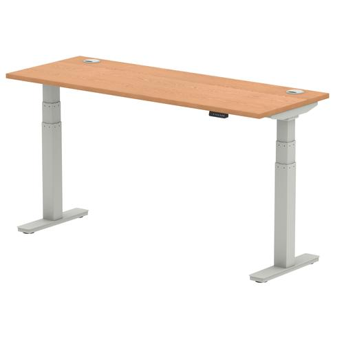 Air 1600/600 Oak Height Adjustable Desk With Cable Ports With Silver Legs