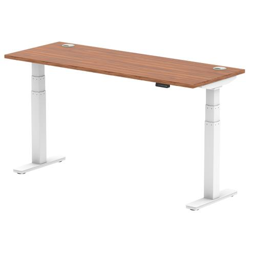 Air 1600 x 600mm Height Adjustable Desk Walnut Top Cable Ports White Leg
