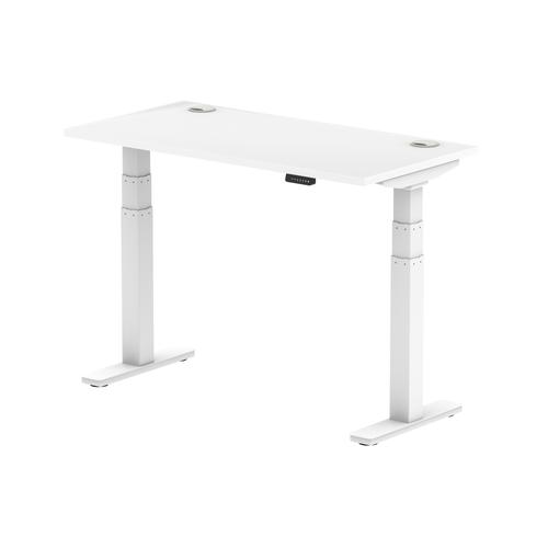 Air 1200/600 White Height Adjustable Desk With Cable Ports With White Legs
