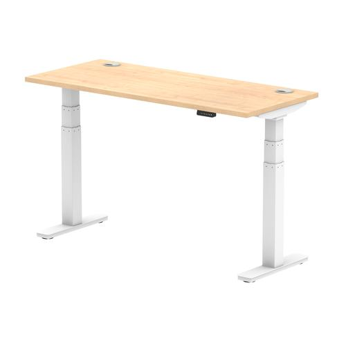Air 1400/600 Maple Height Adjustable Desk With Cable Ports With White Legs