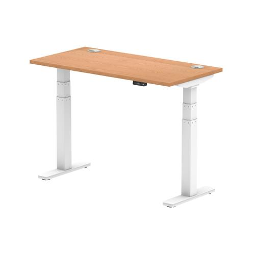 Air 1200 x 600mm Height Adjustable Desk Oak Top Cable Ports White Leg