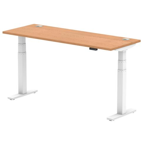 Air 1600/600 Oak Height Adjustable Desk With Cable Ports With White Legs
