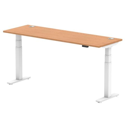 Air 1800 x 600mm Height Adjustable Desk Oak Top Cable Ports White Leg