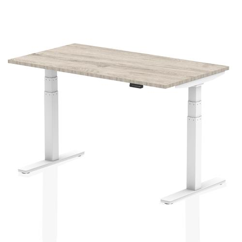 Air 1400/800 Grey Oak Height Adjustable Desk With White Legs