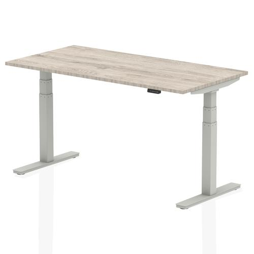 Air 1600/800 Grey Oak Height Adjustable Desk With Silver Legs