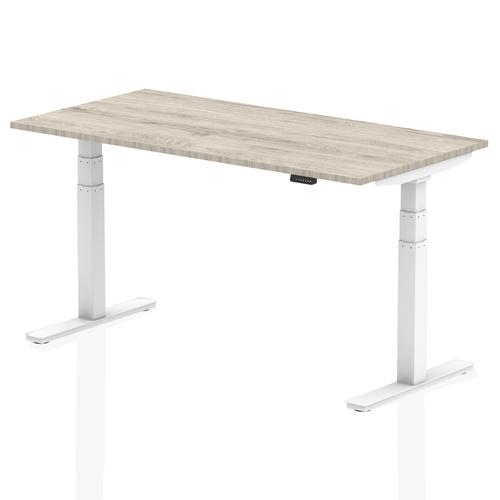 Air 1600/800 Grey Oak Height Adjustable Desk With White Legs