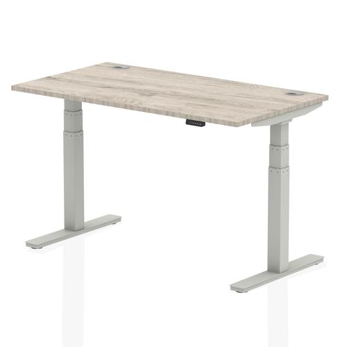 Air 1400/800 Grey Oak Height Adjustable Desk With Cable Ports With Silver Legs