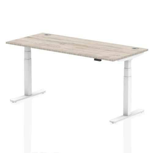 Air 1800/800 Grey Oak Height Adjustable Desk With Cable Ports With White Legs