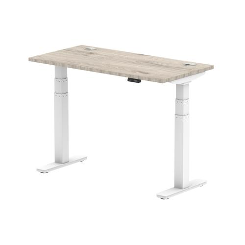 Air 1200/600 Grey Oak Height Adjustable Desk With Cable Ports With White Legs